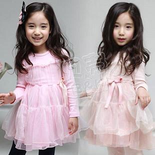 free shipping 2013 spring elegant gauze girls clothing baby long-sleeve dress