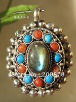 TGB134   Tibetan silver amulet pendants,Tibet antiqued handmade prayer box,GAU amulets,47*36mm,Ethnic jewelry