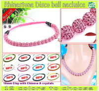 10mm Crystal Disco Ball 45cm Long Shamballa Necklace!Factory Wholesale! Free shpping!
