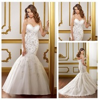 Free Shipping Organza Lace Mermaid Style Backless Wedding Dress 2012