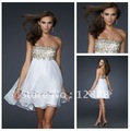 Free Shipping 2012 New Style Empire Mini Short Sexy White Cocktail Party Dress