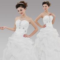 free Shipping 2013 tube top bandage wedding qi formal dress embroidered lace wedding dress princess sweet slim