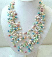 New Fashion Jewelry Sets Beautiful Multicolor Cultured Freshwater Pearl Necklace free shipping