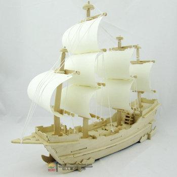 """3D деревянные головоломки корабль модель """"Сделай сам"""" трехмерная головоломка ручной сборки деревянные игрушки парусная лодка"""