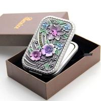 Free shipping, Portable makeup mirror portable folding vanity mirror women's rectangle metal mirror