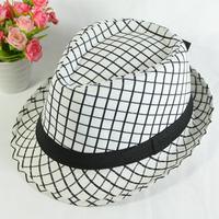 White plaid fashion summer paragraph vintage british style fedoras jazz hat trend
