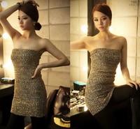 New arrivel 2014, Sexy Backless Off the shoulder  Gold  Strapless Slim Paillette dress