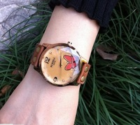 Free Shipping wholesales 2013  woman's handicraft quartz leisure watch jewelry wristwatch for  cow hide strap vintage type