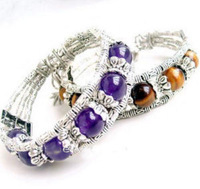 New Fashion Jewelry Beautiful Asian Tibet silver tiger's eye purple crystal bracelet 2pcs/lot free shipping