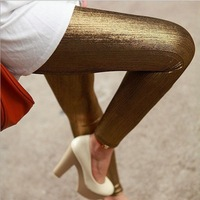 2014 spring and summer gold pants ankle length trousers safety pants neon streamer legging