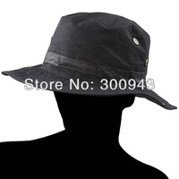 Black Round-brimmed Hat Sun Bonnet Outdoor Cap for Fishing Hiking Climbing NCA-13457