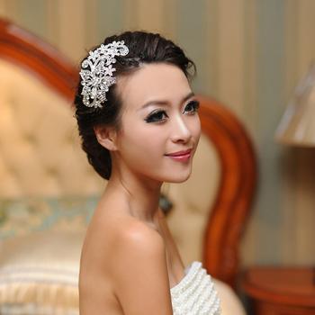 Bride full rhinestone flower fat plug rhinestone white red married wedding accessory hair short hair accessory