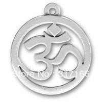 Free ship antique silver charm Om Sanskrit Yoga