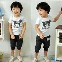 Wholesale Kids summer wear Children's clothing set cotton t-shirt + pants Boys girls suit free shipping ((BGDT-031))