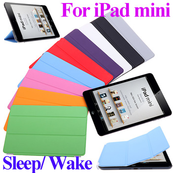 "New  9 colors 7.9 inch Slim Smart Case Cover 7.9"" PU Leather Magnetic Case with Stand sleep/ wake function for Apple iPad Mini"