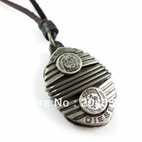 mens charm choker heavy metal pendant Genuine leather necklace clothes/bags accessories p445