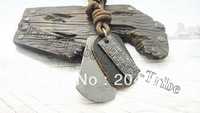 mens charm choker 1977 leather tag pendant Genuine leather necklace p427