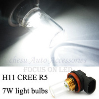 Car Bulbs H11 CREE R5 7W High Power Auto LED fog light  Lamps White color to chose in free shipping