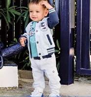 hot 2013 new style kids clothing sets for boys 3-pieces long sleeve top+T-shirt and pant 5 sizes for 2Y~7Y