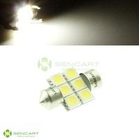 "1.25"" Dome 31mm 6-SMD 5050 LED White lights 6000k Festoon Door Map Light Bulb DE3175 DE3021 DE3022 DC 12V"