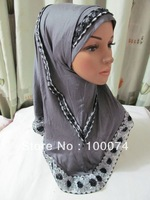 2-pcs set shining islamic head scarf with black diamond in assorted colors for each dozen ,arab scarf islamic hijabs ms122802