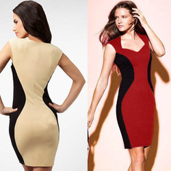 Newest Women&#39;s V-Neck inspired Optical Illusion Effect Contrast Bodycon Slimming Fitted Knee-Length Dress (Free Shipping) S-XL(China (Mainland))