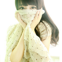 Stone autumn and winter 2012 all-match polka dot pleated fluid big scarf cape