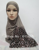 S353a high quality cotton scarf with sequins,fast delivery