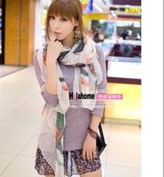 2012 scarf multicolour fluid scarf silk scarf cape female