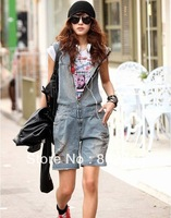 Free Gift street fashion hooded jumpsuit retro finishing hole denim bib pants elastic waist knee-length pants