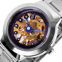 Original women's ik mechanical watch double faced cutout diamond ladies watch mechanical multicolor