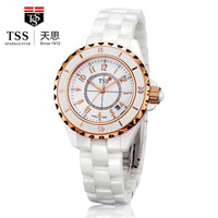 Tss fashion white ceramic ladies watch fashion table trend waterproof lovers watches