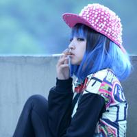 2014 Blue Gradient Color Block Decoration HARAJUKU Fashion Medium-long Wig free shipping