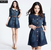 Fashion women's vintage lace collar jeans dress plus size denim dress lady casual dress workwear