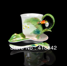 Brightly Striped Vivid Super Tucano Ceramic Coffee Set 1Cup 1Saucer 1Spoon
