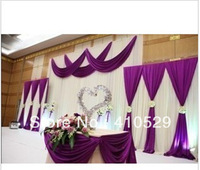 Wholesale - White And Purple Wedding Bacdrop Wedding Curtains Free Shipping