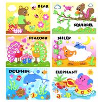 16pcs Animal Cartoon Children Handmde EVA Sticker Picture,  Kids DIY 3D Sticker Puzzle, Gift for Children's Day Free Shipping