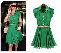 Fashion First Quality Women's Dress Summer Chiffon Clothes  2 Colors ladies Lapel lotus sleeve slim thin dress Free Shipping