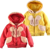 Child thickening plus velvet zipper with a hood double layer outerwear male female child outerwear