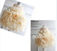 2013 Lovely Jewel Hand made flower Beads Ball Gown Organza Flower Girl Dress Girls' Formal Occasion