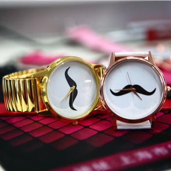 New Women Fashion Lovely PU Strap Moustache Face Stud Quartz Wrist Watch #L05377