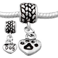 Free shipping! Vnistar Antique Silver plated With Love My Dog Pattern Heart Dangle Beads PBD152-1