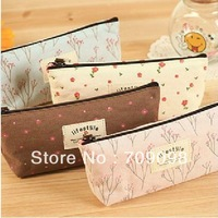 Free Shipping 20 pcs/lot NEW cute flowers dots Pencil bag canvas pen & Cosmetic bag / pouch / Wholesale