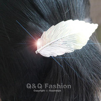 Vintage Silver Big Carved Leaf Hair Pin Clip Cuff Wrap Claw Snap Barrette Boho Jewelry Free Shipping
