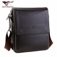 SEPTWOLVES man bag male shoulder bag leather vertical commercial Men bags messenger bag
