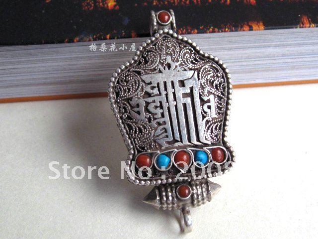 T9098 Tibetan KALACHAKRA amulet prayer box,48*26mm,Nepal handmade 925 sterling silver antiqued tower pendants(China (Mainland))