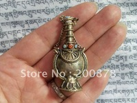 TBP505  Tibetan handcrafted snuff bottleTibet white metal copper lovely small snuff bottle amulet pendantbest offer