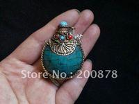 TBP448  Nepal brass lovely small Turquoise snuff bottles,44*35mm,Tibetan amulet pendants,best offer