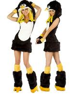 2015 Hot Sale Dropshiping  Free shipping High Quality Sexy  fur penguin Women costume, halloween apparel,women animal  costumes