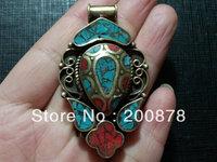TBP544  Nepal Vintage Handmade Jewelry, Tibetan Big metal inlaid turquoise Heart Pendant,57X34mm,Wholesale ethnic jewel